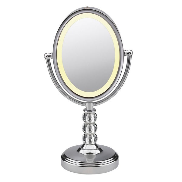 Oval Crystal Ball Accent Mirror, Polished Chrome Finish