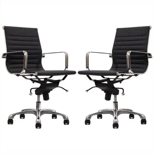 Manhattan Comfort Ellwood Mid-Back Adjustable Office Chair (Set of 2)