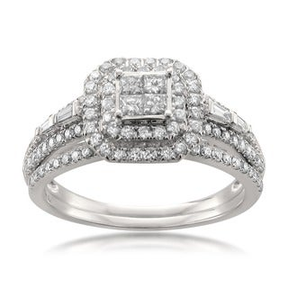 14k White Gold 1ct TDW Diamond Double Halo Engagement Ring and Wedding Band Set (H-I, SI1)