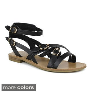 Mark and Maddux Women's Cross-Strap Sandals