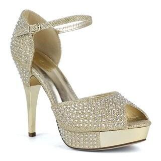 Celeste Women's Anastasia-03 High Heel Shining Diamond T-Strap peep Toe Platform d'Orsay Pumps