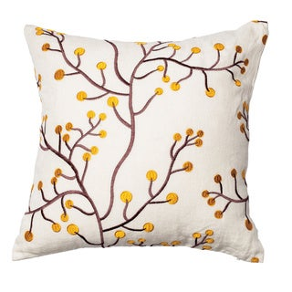 Furniture of America Branching Floral White/Gold 18-inch Decorative Throw Pillow