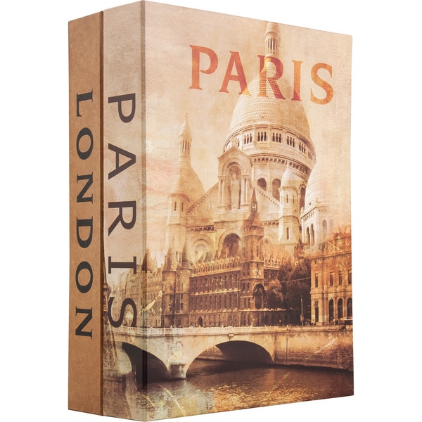 Paris and London Dual Book Lock Box with Key Lock
