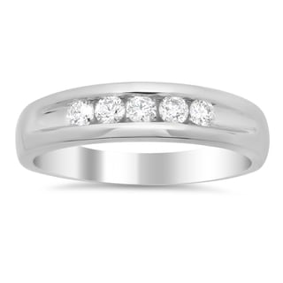 14k White Gold Men's 1/2ct TDW Diamond 5-stone Ring (F-G, SI1-SI2)