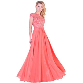 Women's Coral Short Sleeve Beaded Formal Dress