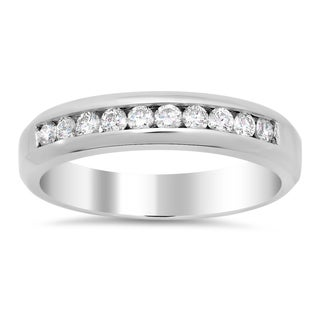 14k White Gold Men's 1/2ct TDW Diamond Ring (F-G, SI1-SI2)