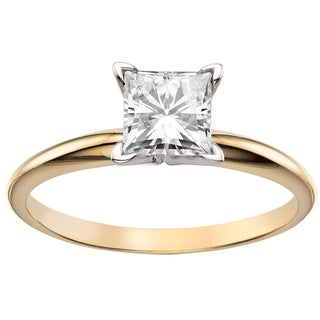 Charles & Colvard 14k Yellow Gold 1ct Classic Square Moissanite Solitaire Ring