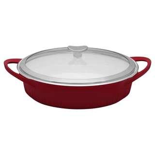 Corningware Cast Aluminum Red 4-quart Dutch Oven Braiser with Glass Cover