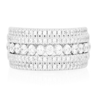 Bridal Symphony Sterling Silver 1ct TDW Diamond Multi-row Anniversary Band (I-J, I2-I3)