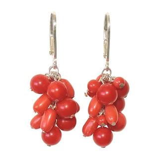 Sterling Silver Coral Bead Cluster Earrings