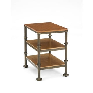 Bentley Oak and Metal Castor Side Table