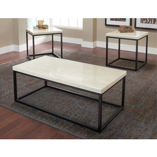 White Faux Marble Coffee Table (Set of 3)