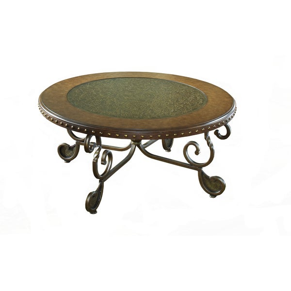 Metal Etched with Nailhead Round Cocktail Table - 17155336 - Overstock ...