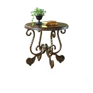 Metal Etched Nailhead Round End Table