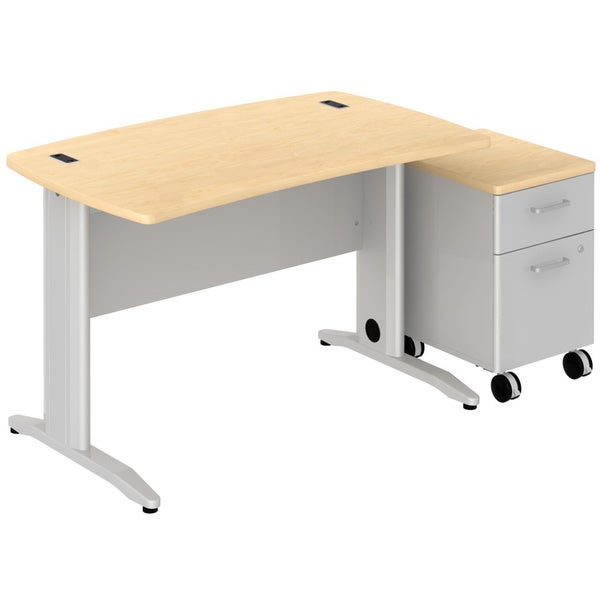 Bush BBF Sector 48 x 30-inch Curved Desk with 2-drawer Mobile Pedestal