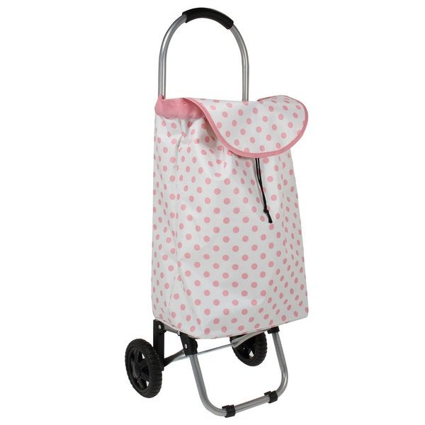 Household Essentials Pink Polka Dots Small Rolling Shopping Tote Bag