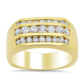 14k Yelllow Gold Men's 1 3/5ct TDW Diamond 3-row Wedding Ring (F-G, SI1-SI2)