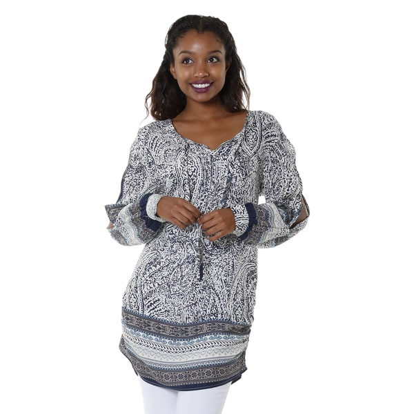 Hadari Women's Navy Tribal V-Neck Tunic