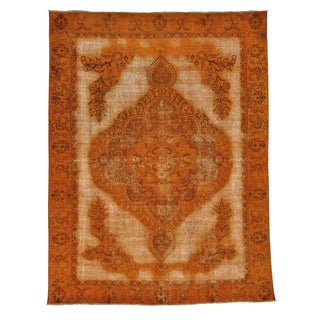 Overdyed Burnt Orange Worn Persian Tabriz Handmade Rug (9' x 11'10)