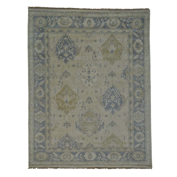 Handmade Oriental Washed Out Oushak 100-percent Wool Rug (8'1 x 10'6)
