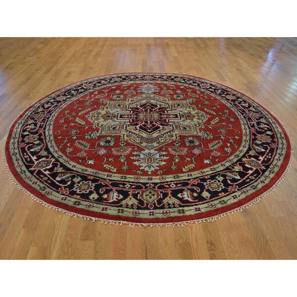 Round Tribal Design Serapi Heriz Handmade Oriental Rug (8' x 8') 15105202