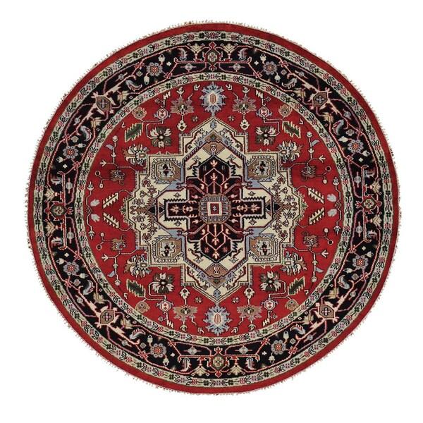 Round Tribal Design Serapi Heriz Handmade Oriental Rug (8' x 8') 15105203