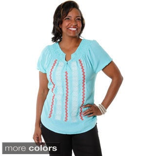 Hadari Women's Plus Size Embroidered Short Sleeve Blouse