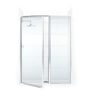 Legend Series 58 x 69 Framed Hinge Swing Shower Door with Inline Panel in Chrome with Clear Glass