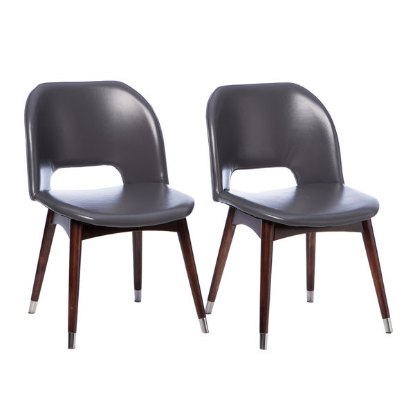 Betty Modern Dark Grey Leather Dining Chairs (Set of 2)