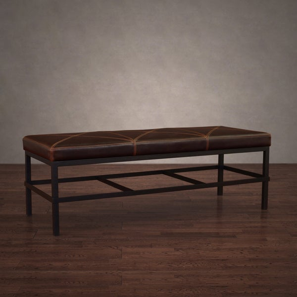 Antique Steel Vintage Tobacco Leather Bench 17152318