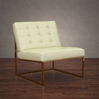 Brooklyn Creme Leather Gold Lounger