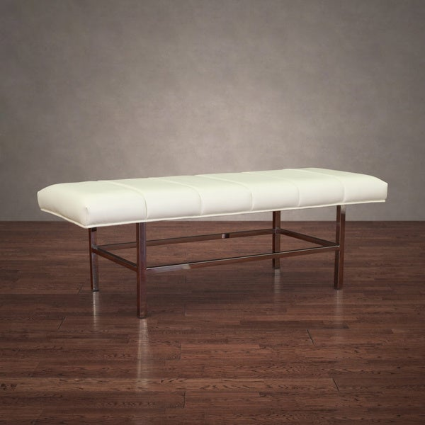Copenhagen Modern Stainless Steel White Leather Bench