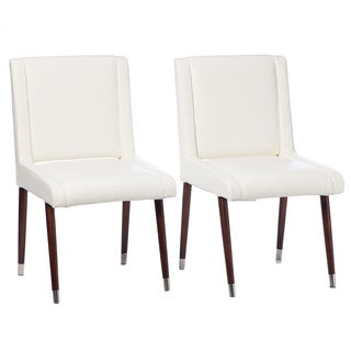 Joan Modern White Leather Dining Chairs (Set of 2)