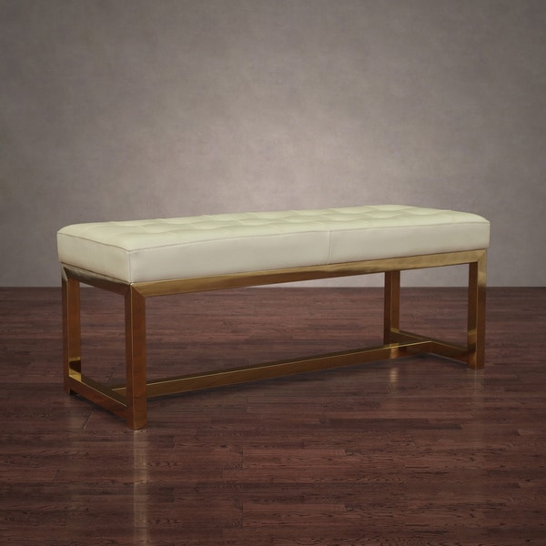 Liberty Stainless Creme Leather Gold Bench