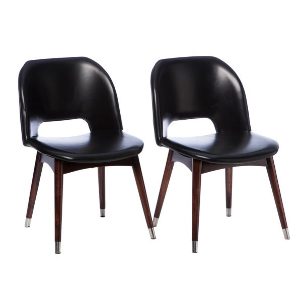 Betty modern black leather dining chair set of 2 overstock