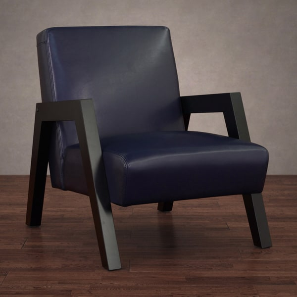 New Roadster Navy Blue Leather Arm Chair