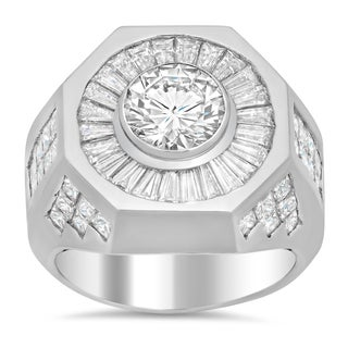 Platinum Men's 6 ct TDW Certified Diamond Ring with GIA Certified Center Stone (G-H, VS1-VS2)