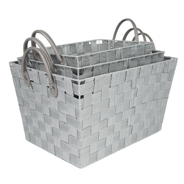 Woven Grey Storage Baskets (Set of 3)
