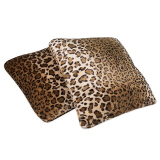Faux Fur Leopard Print 18-inch Throw Pillow (Set of 2)
