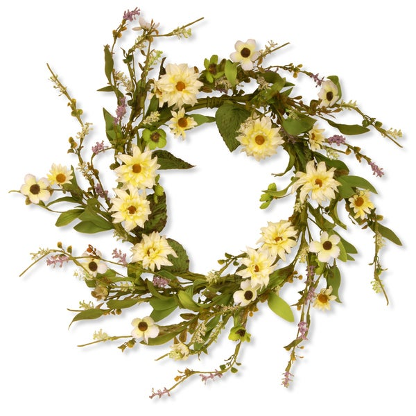 20-inch Floral Wreath with Daisy-Yellow