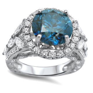 18k White Gold 5 1/2ct TDW Round-cut Certified Blue Diamond Ring (F-G, SI1-SI2)