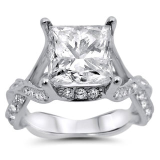 Noori 18k White Gold 2 7/8ct TDW Princess-cut Certified Diamond Engagement Ring (I-J, SI1-SI2)