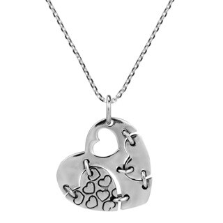 Modern Patched Heart .925 Sterling Silver Necklace (Thailand)