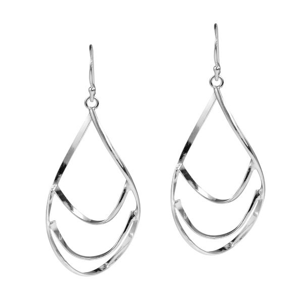 Multi Layer Twist Oval Drop .925 Silver Dangle Earrings (Thailand)