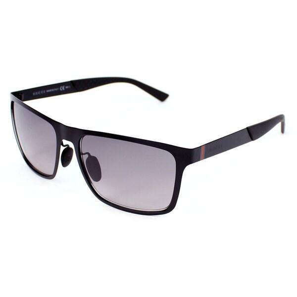 Gucci Men's GG 2238/S Matte Black Metal Rectangular Sunglasses