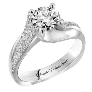 Claude Thibaudeau 18k White Gold 1/4ct TDW Diamond Semi Mount Engagement Ring (G-H, VS1-VS2)
