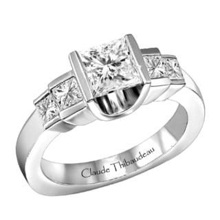Claude Thibaudeau 18k White Gold 1/2ct TDW Diamond Semi Mount Ring (G-H, VS1-VS2)