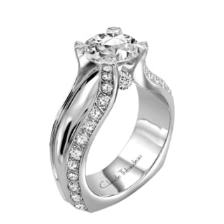 Claude Thibaudeau Platinum 1/2ct TDW Diamond Semi Mount Engagement Ring (G-H, VS1-VS2)