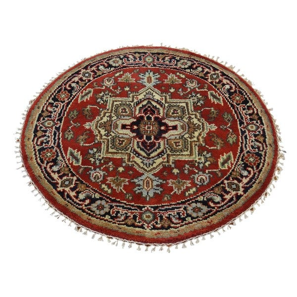 Round Serapi Heriz Tribal Design Oriental Hand Knotted Rug (3'1 x 3'1) 15105797