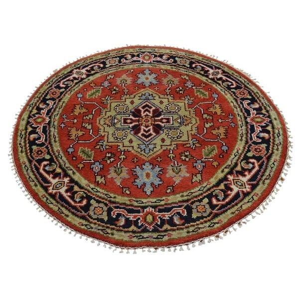 Round Serapi Heriz Tribal Design Oriental Hand Knotted Rug (4' x 4') 15105798